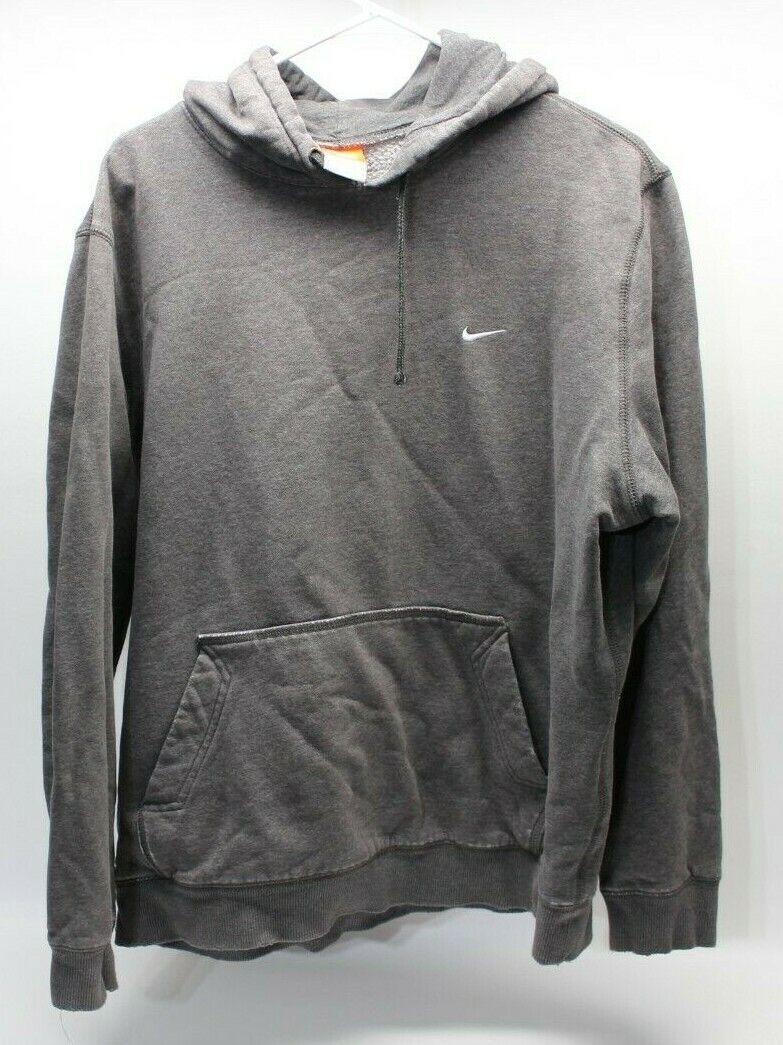 Nike Mini Swoosh Logo Gray Sweatshirt Hoodie Size… - image 1