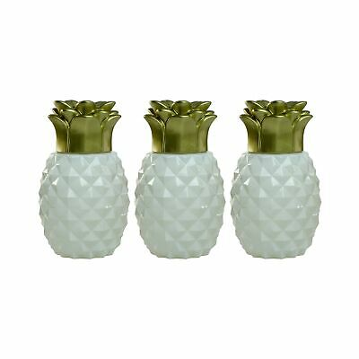 Eerzuchtig Tiki Brand Pineapple Glass Table Torch, White (set Of 3) Gedistribueerd Worden Over De Hele Wereld