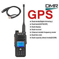 Gps Dmr Walkie Talkie Retevis Rt82 Dual Band Digital Two-way Radio+usb Cable