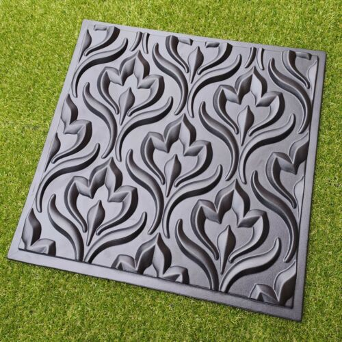 Wall Stone Panels Mold *TULIPS* 3D Decorative Plastic Form for Plaster Gypsym