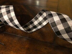 "Tan Black Buffalo Check wide 2.5/"" wire ribbon Jumbo Roll 75 feet 25 yards"