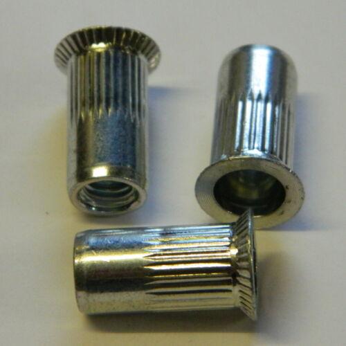 50 Blindnietmuttern M4 Stahl verz Senkkopf gerändelt 1,5-3,5mm  Nietmuttern