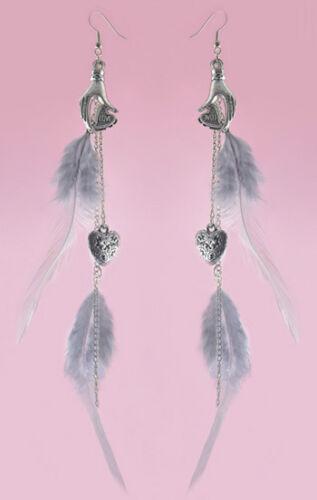F1795 Fashion Light Longue Plume Chaîne Palm Heart for love Dangle Boucles d/'oreilles Nouveau
