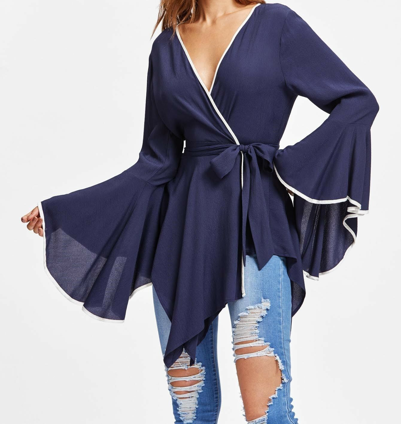 damen Navy Shirt Ruffle Blouse Tops Flounce Blouse Clothes