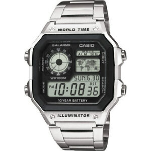 CASIO-MEN-039-s-WATCH-AE-1200WHD-1AVEF-WORLD-TIME-ALARM-CHRONOGRAPH-Stainless-Band