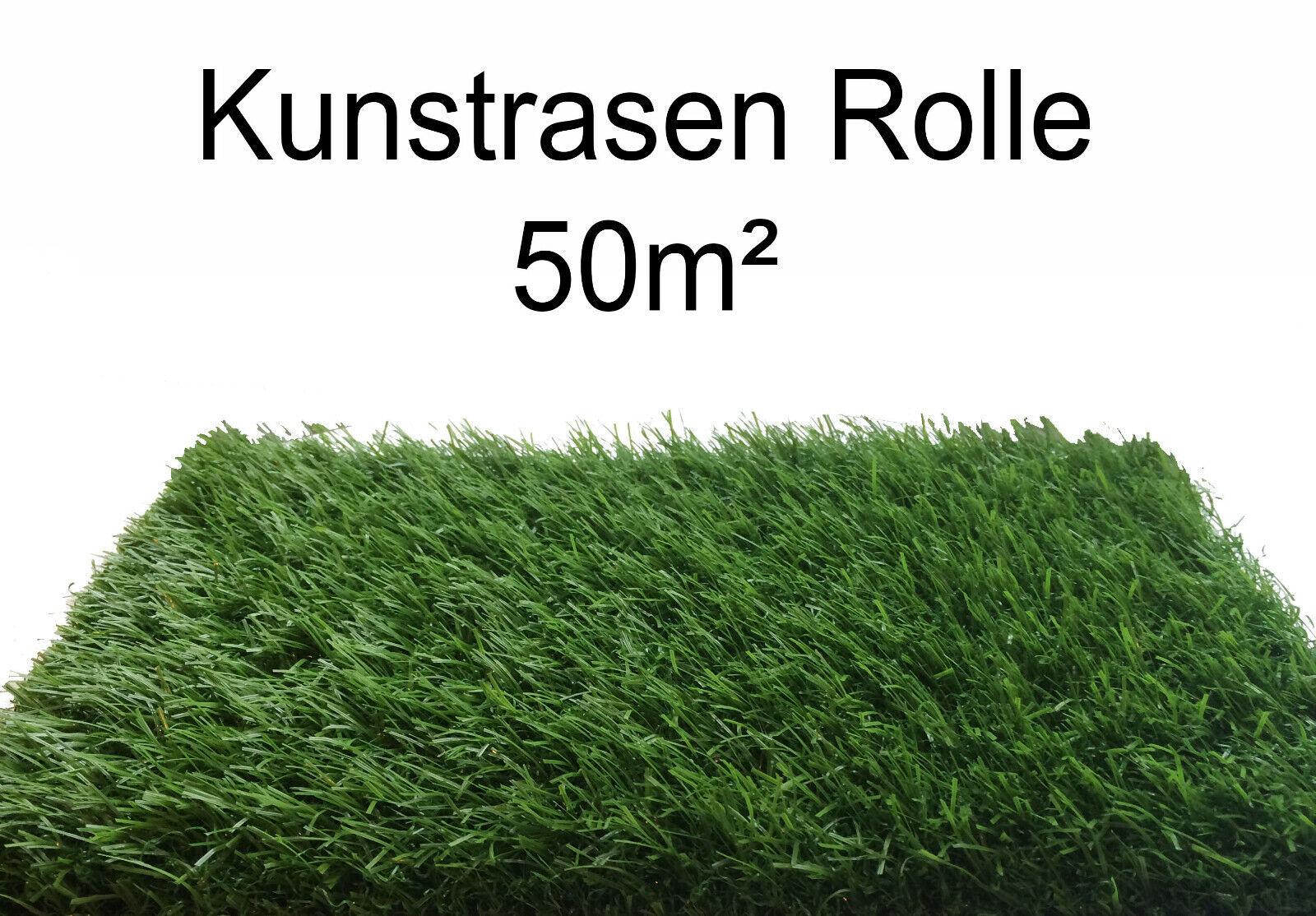 Kunstrasen   Rasenteppich   Fertigrasen Grün 50m² Rolle