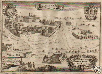 Lavello Potenza Cartina Geografica.Basilicata Lavello Pacichelli Cerbini Antica Bellissima Veduta Del 700 Ebay