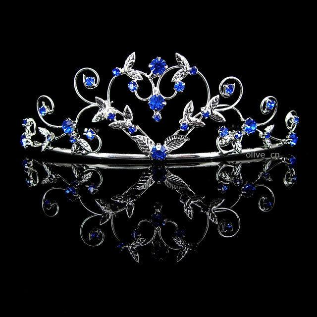 4cm High Heart Sapphire Blue Wedding Bridal Bridesmaid Prom Party Crystal Tiara