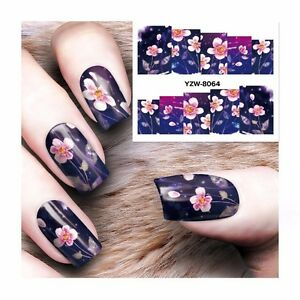 Nail-Art-Water-Decals-Stickers-Transfers-Purple-Pink-Flowers-Gel-Polish-8064