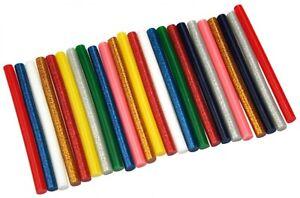 24-Heissklebesticks-7-2mm-x-100mm-Mini-Klebesticks-farbig-bunt-Glitzer-ID-0053