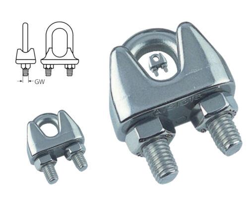 Edelstahl A4-AISI316 Bügelklemme Drahtseilklemme für Drahtseilstärke 2mm 22mm