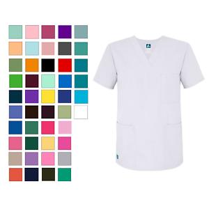 Adar-Unisex-Plus-Size-Medical-Nursing-Workwear-Uniform-3-Pocket-V-Neck-Scrub-Top