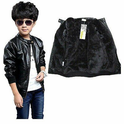 Boy/'s Trendy Stand-collar PU Leather Jacket Moto Jacket Coat 2T-12T