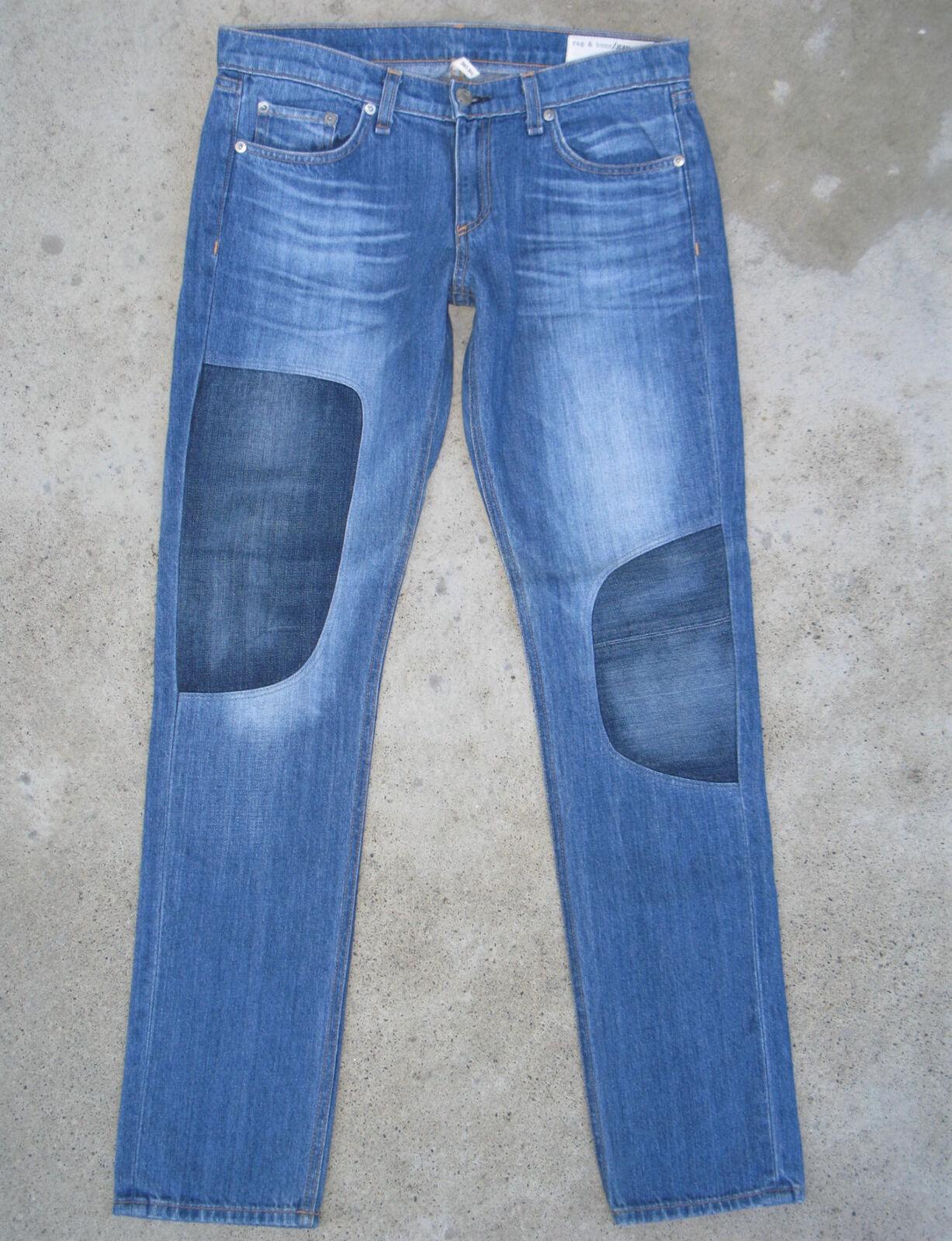 Rag & bone Womens Dre Jeans Sz 28 Mid Skinny Distressed 100% Cotton w Patches