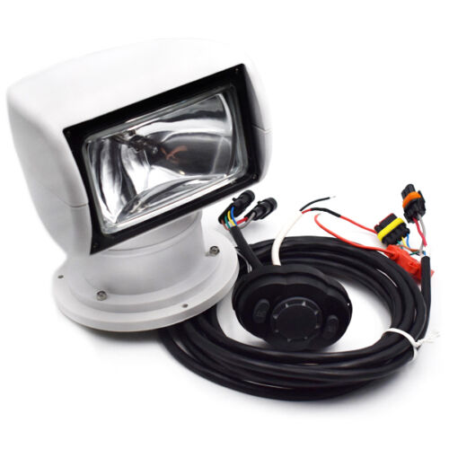 White Remote Control Spotlight SUV Car Marine Searchlight DC 12V 100W Bulb GB