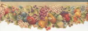Wallpaper-Border-Classic-Fruit-and-Floral-Die-Cut-Bottom-Edge-Swag-Apples-Pears