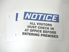 Accuform 219106 7x10s 7 In X 10 In Notice Safety Vinyl Sign Lot Of 6