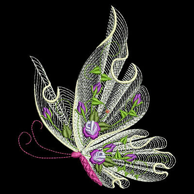 FREE SHIPPING FLUTTERBY LUV 3-6 inch-10 Machine Embroidery Designs CD