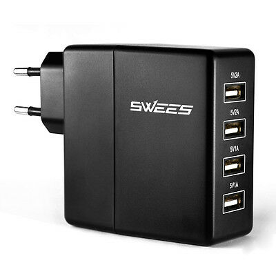 5V/2A 4-Port USB Hub Wall Charger Home Travel Power AC Power Adapter EU Plug