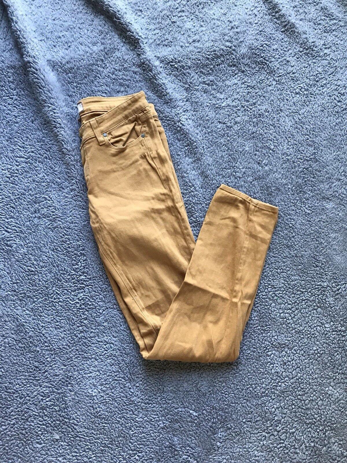 Women's Vintage Paige Denim Camel Tan 98% Cotton Peg Skinny Stretchy Pants 27