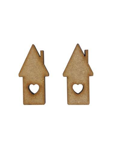 16x Amore Cuore Casa 4 cm legno Craft Embelishments taglio laser forma MDF