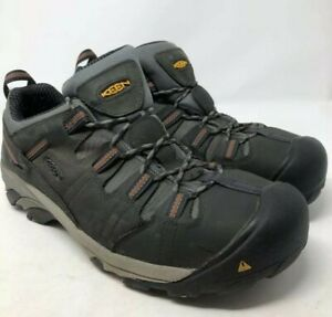 Keen-Mens-Flint-Low-Work-Hiking-Trail-Boots-Gray-Black-Lace-Up-13-D