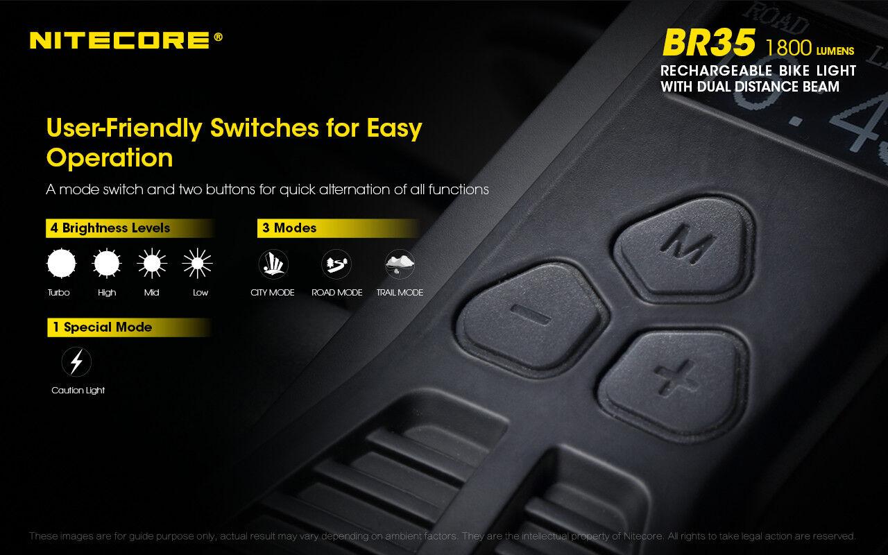 Nitecore BR35 1800 Lm Recargable con Luz Bicicleta con Recargable Cable USB + Coche Adaptadores De Pared 637b0c