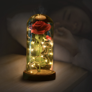 Beauty-and-The-Beast-Enchanted-Rose-Lamp-Silk-Artificial-Flower-Fake-Plant-Glass