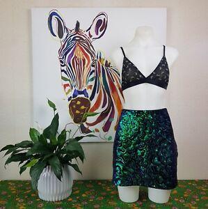 Size-US-Large-12-H-amp-M-black-and-aqua-sequined-mini-skirt
