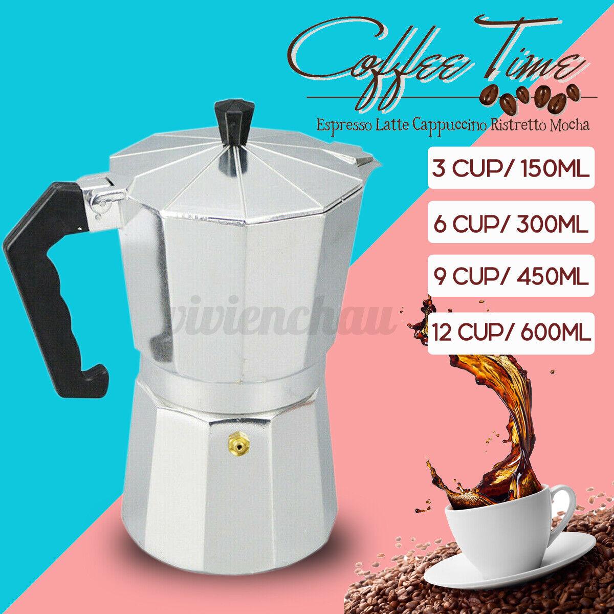 YDong Aluminum Italian Moka Espresso Coffee Machine Filter Stove Pot 6 Cups