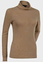 Ex Primark Ladies Sheer Camel Roll Neck Top Sizes 6-8-10-12-14-16-18-20 New