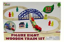 * FIRST LEARNING * 35 piece WOODEN TRAIN SET * THOMAS ELC BRIO COMPATIBLE * NEW