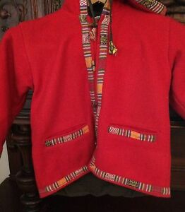 Nepal Red 100 Wool Hooded Boutique Coat Girls Sherpa Toggle Lined