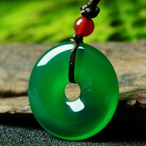 Chinese beautiful natural Green jade hand-carved Lucky Buckle Jadeite pendant