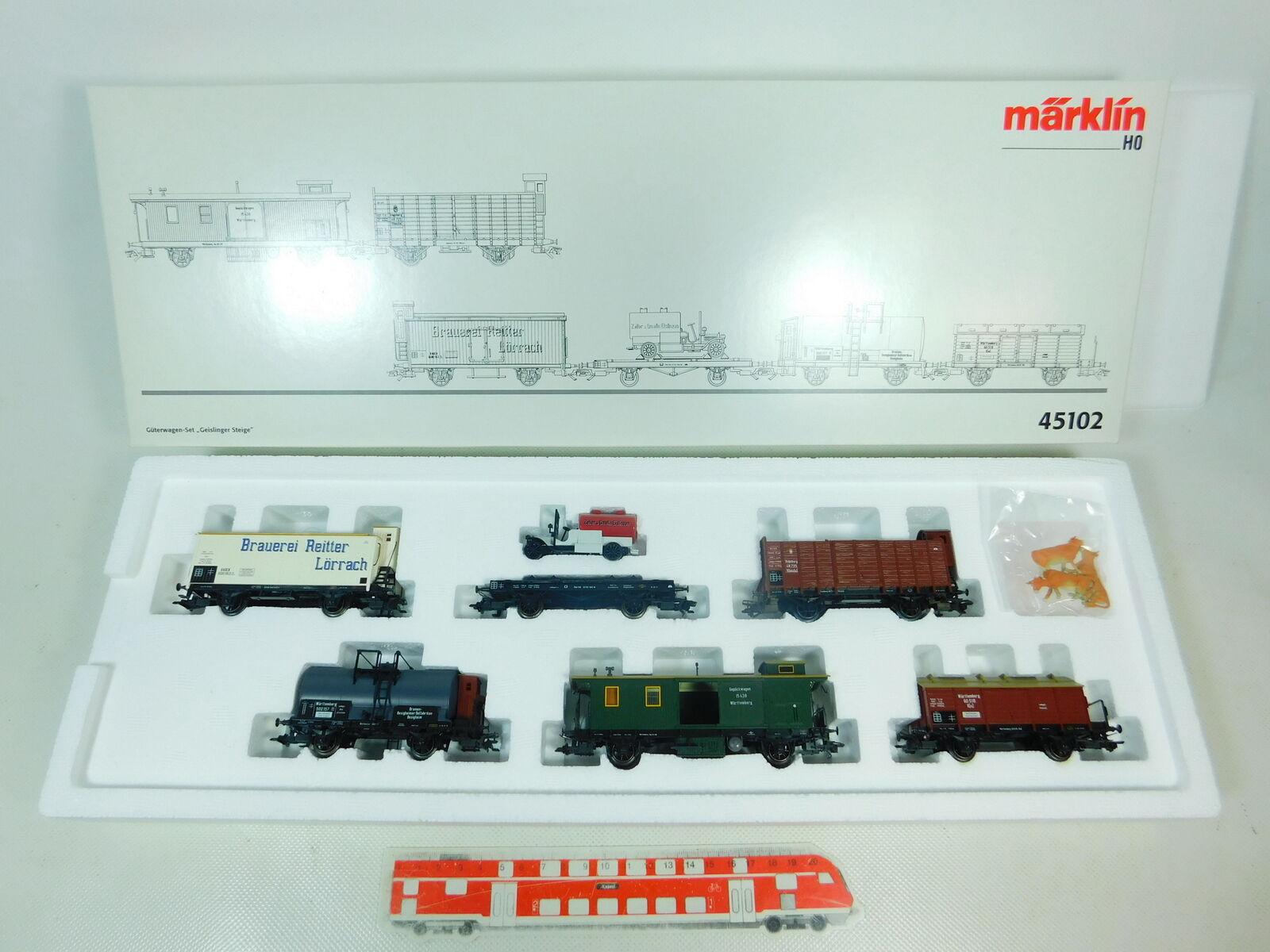 BS955-1Märklin H0 Ac 45102 Freight Car Set Geislinger Get Nem Kk Mint; Ovp