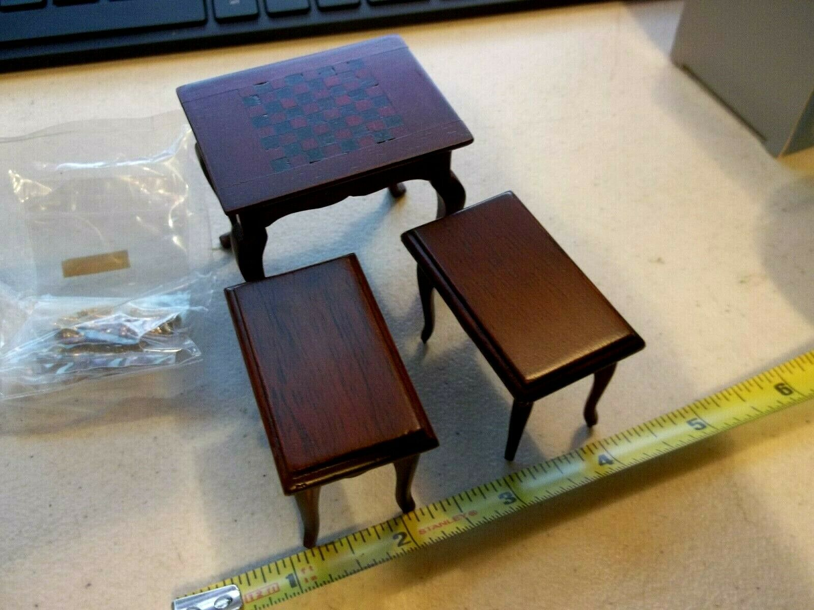 Dollhouse Furniture Wood Chess Table, Two Benches Inlaid Striped, Chess Pieces