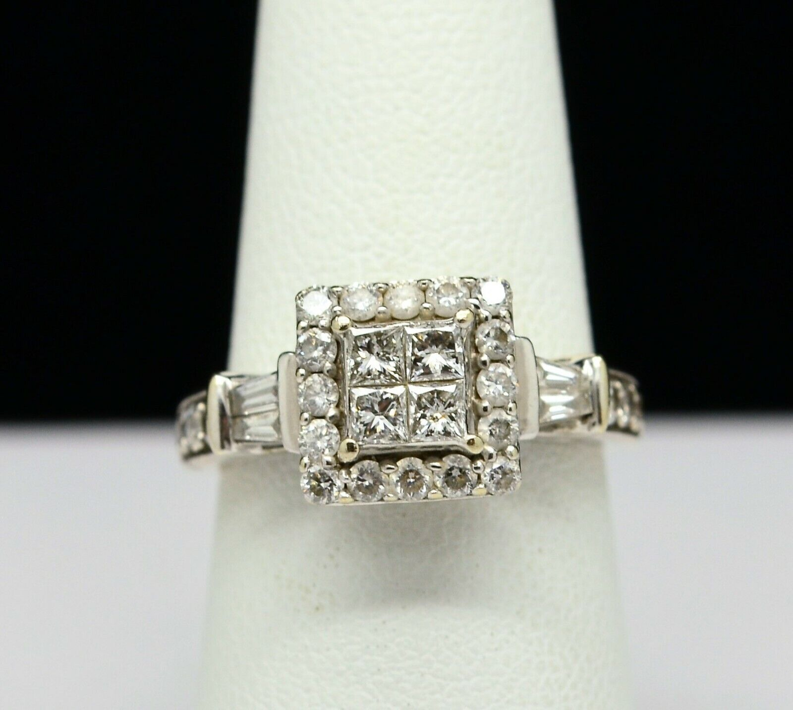 14K WHITE gold STUNNING DIAMOND CLUSTER RING 1.0 CTW SZ 6.5 gold-213