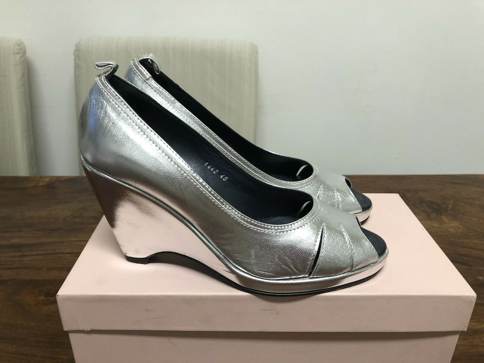 MAX & Co  Marc Marc Marc Jacops  Schuhe Keilabsatz Silber Gr. 40 0fb970