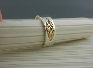 10K Celtic Trinity Knot & Sterling Silver Band Made in Ireland Various Sizes