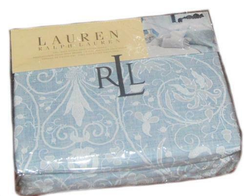 RALPH LAUREN Springhill  bluee Lace Print Cal KING FITTED SHEET NEW COTTON