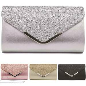 Ladies Glittery Purse Wedding Prom Party Clutch Bag Evening Bag Sparkle Handbag