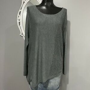 Small-ANTHROPOLOGIE-MOTH-Womans-Gray-Perforated-Side-Lightweight-Sweater