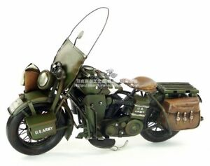 Vintage-Military-Harley-Motorcycle-Metal-Diecast-Iron-Moto-Model-Toy-Collectible