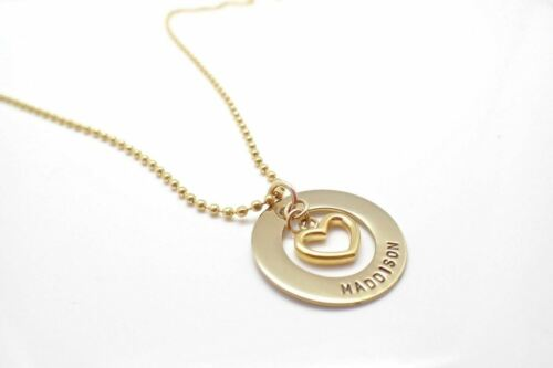 Personalised Hand Stamped Premium Gold Open Heart Charm Any Names Necklace