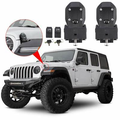 ONETK Stainless Steel Latch Locking Hood Catch Kit for Jeep Wrangler 2007-2018 JK JL,Black