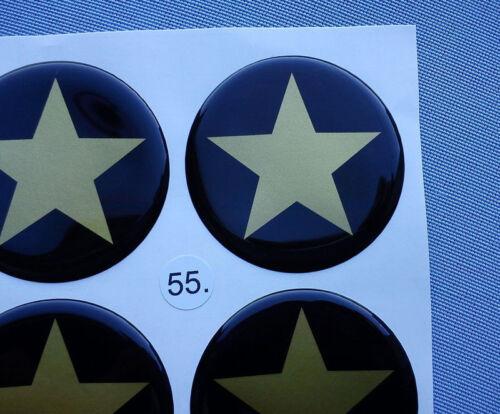 Stella 5//55g 4x emblemi COPRIMOZZO PER CERCHIONI COPERCHIO 55mm in Silicone Adesivo
