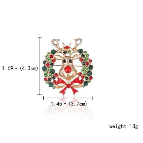 Fashion Womens Christmas Tree Crystal Snowman Brooch Pin Xmas Party Jewellery