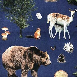 100-Cotton-Canvas-Digital-Print-Fabric-Forest-Animals-Bear-Fox-Deer-140cm-Wide