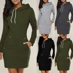 318144b1b UK 8-24 Women Winter Long Sleeve Hooded Hoodies Sweatshirt Dress ...