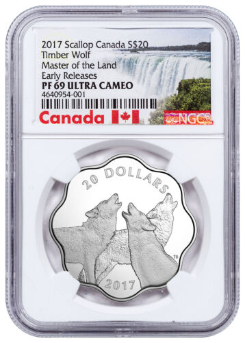 2017 Canada Master Land Timber Wolf Scalloped Silver $20 NGC PF69 UC ER SKU51582